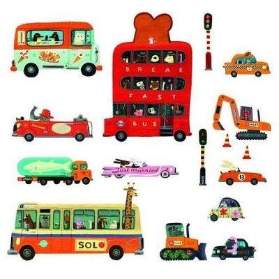 Djeco Διακοσμηση Τοίχου Οχήματα (6φυλλ. 7,6x73εκ) - Sunnyside