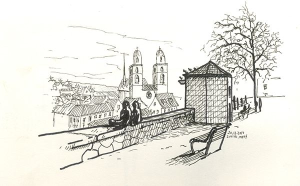 On the road to Germany, First stop in Zurich, after 2 years, sketching again from the same point on Lindenhof | Zurich, Switzerland | 2014