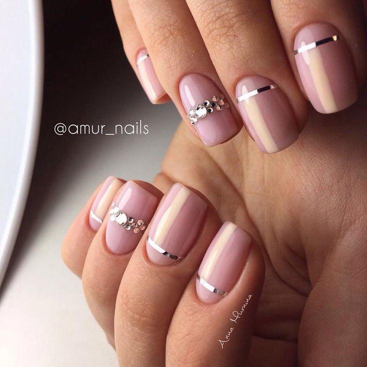 Gel polish short nails, Light spring nails, Nail art stripes, Nails with rhinestones, Nails with rhinestones ideas, Pale pink nails, Pink manicure ideas, Ribbon nail art