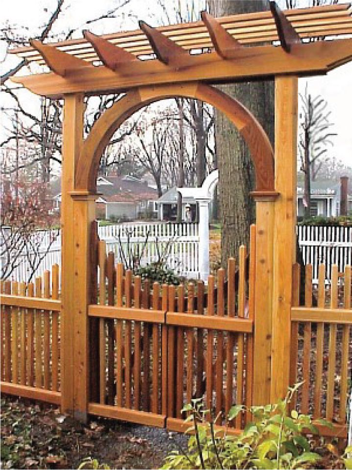 new england pergola wooden garden arbor with pyramid picket gate made out of western red cedar