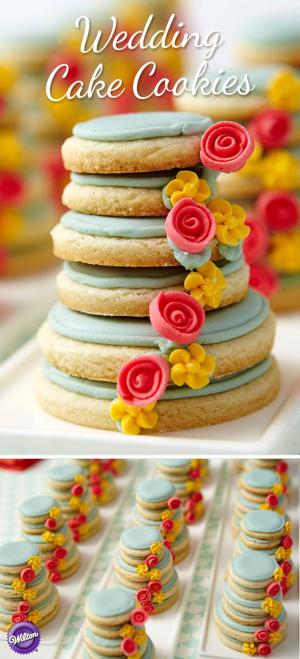 Put a wedding cake on everyone's plate! We've stacked a half-dozen cookies high and decorated them with a cascade of royal icing roses and drop flowers for a beautiful, edible take-home wedding favor.