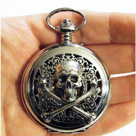 Steampunk Silver Skull and Crossbones Pocket Watch by tempusfugit