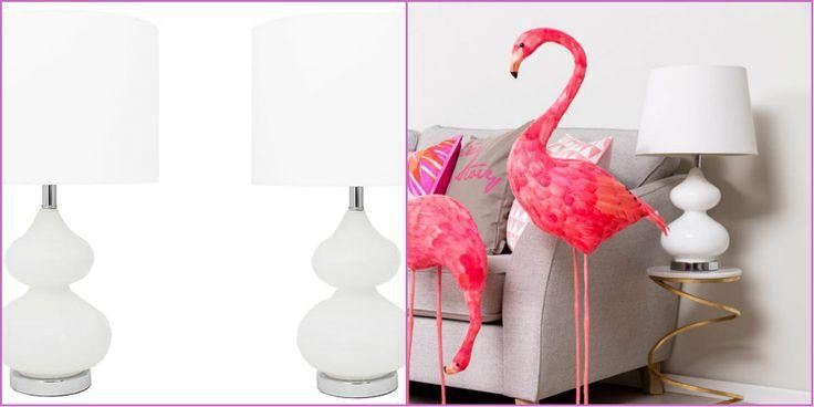 2x lampa komplet lamp biała ceramicz insp Safavieh