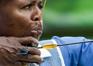 24 hours in pictures: Martha Padmore of Barbados trains before the women's Archery