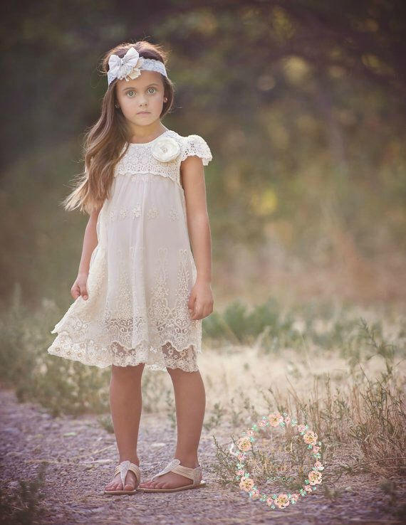 Ivory lace dress, Baptism girl,rustic flower girl dress  girls lace dress, Ivory…
