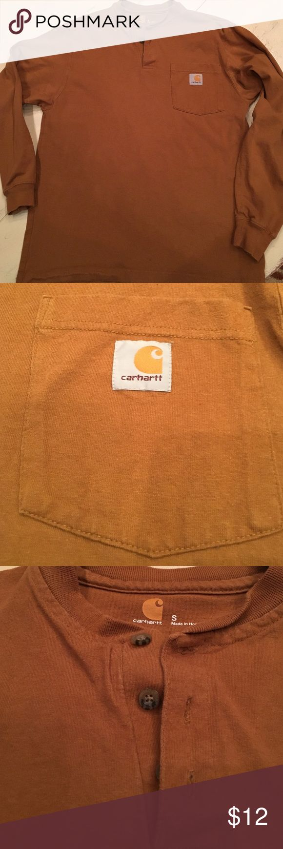 carhartt Shirt carhartt 100 % cotton 2 small holes as shown in picture from belt buckle Carhartt Shirts Tees - Long Sleeve