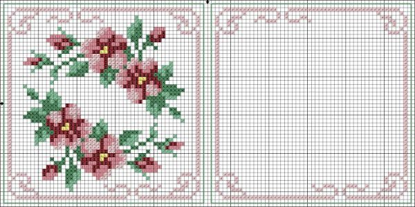 Cross-stitch Floral Biscornu... no color chart available, just use the pattern chart as your color guide.. or choose your own colors...   Картинка