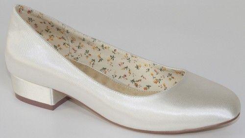Chaussures de mariage petit talon en satin Fern