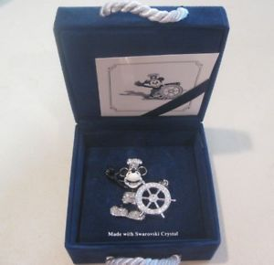 Swarovski-Swan-amp-Disney-Signed-Steamboat-Willie-Mickey-Mouse-Brooch-Rare-HTF