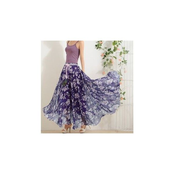 Floral Print Chiffon Skirt ($12) ❤ liked on Polyvore featuring skirts, women, long chiffon skirt, purple chiffon maxi skirt, floral chiffon skirt, purple maxi skirt and floral chiffon maxi skirt