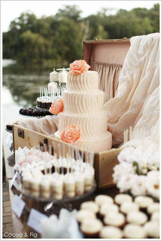 Rustic Chic Pale Pink & Peach Wedding Cake by Cocoa & Fig