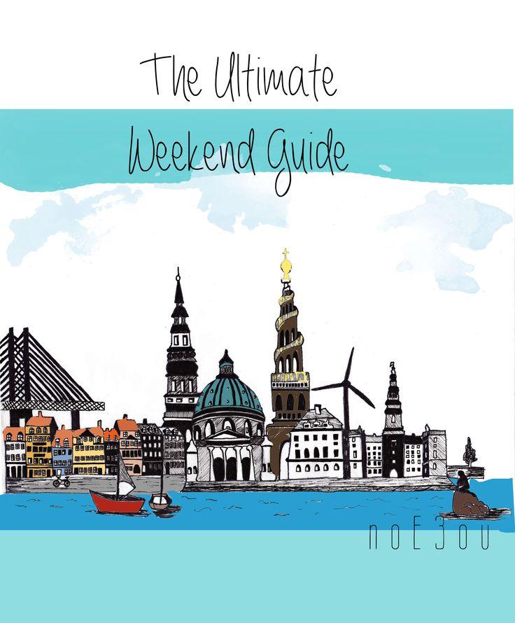 illustration of CPH, ultimate weekend guide from noE3ou. Copenhagen skyline
