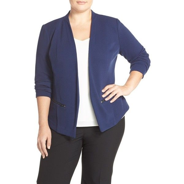 Sejour 'Jetsetter' Ottoman Knit Jacket (8.280 RUB) ❤ liked on Polyvore featuring outerwear, jackets, navy peacoat, plus size, navy pea coat, plus size peacoat, blue pea coat and navy jacket