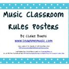 This printable PDF is a set of posters to display music classroom rules.  It uses the letters of the word