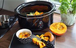 Mit einer veganen Ghee Alternative ist das Rezept vegan! Halloween-Special: Kürbissuppe aus dem Slowcooker | Crocky-Blog