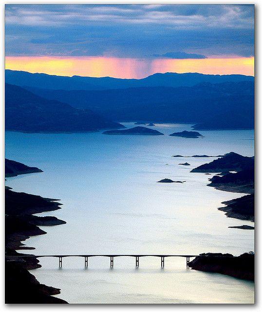 GREECE CHANNEL | Sunset at Lake Kremaston, Evritania, Greece (by jesssie on Flickr)