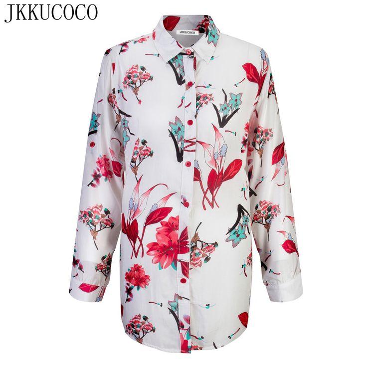JKKUCOCO Women shirts Orchid Flowers Print Fashion Shirt Loose Cotton Shirt Women Blouse Shirts Big Size Thin Style 3 Color