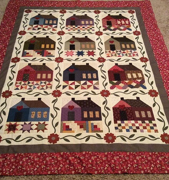 This pattern is called Patchwork Cottage by The Rabbit Factory. The pattern called for 6 houses which I doubled.