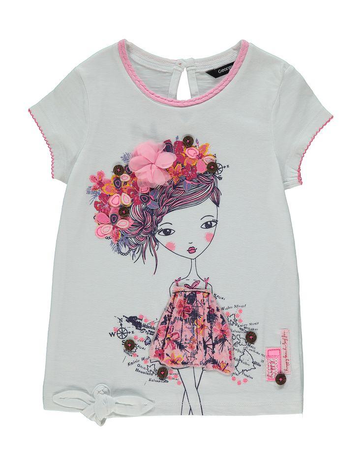 Floral Girl Applique T-shirt   Kids   George at ASDA