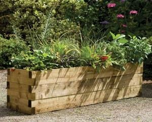 Chunky wooden sleeper planters give a more rustic style and look really substantial.