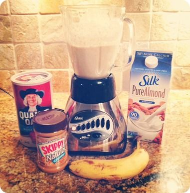 breakfast smoothie - 1/2 cup quaker oats, 1 tbsp. peanut butter, 1 banana, and 3/4 cups of almond milk. If you want a creamier texture, add a couple of tablespoons of greek yogurt! blend in blender.