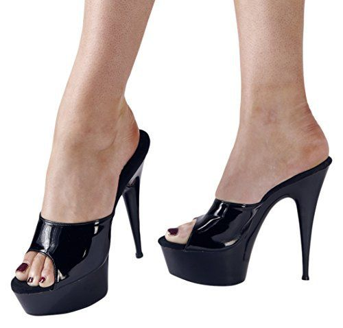 Cottelli Collection Sexy/Monza High Heel With Platform Sandals Shoes Black Size 39 Step by step Pure eroticism. Black slip on with a wide strap over the instep and continuous platform. Platform height (cm): 4cm, Heel Height: 13cm outer material: Patent. Lining/Sock: Leather. Outsole: Other material.  BOOTS, footwear, high heels, SHOES, Slippers, wellington boots