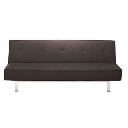 The name says it all. Sit up or sleep it off. Quickly convert from upright lounging to horizontal sprawl. Playful stitching, kicky French seams, and a solid stainless steel base add pizzazz to the straightforward yet inviting form. Available in brick red, grey, smoke and stone. Flat Out Sleeper Sofa - Smoke