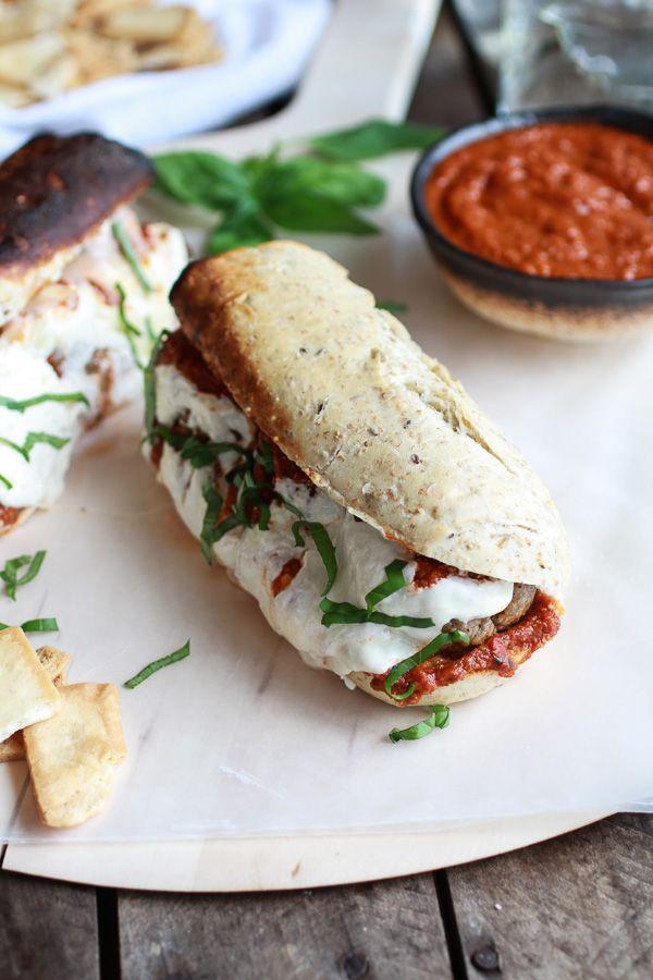 Easy Burrata Cheese Stuffed Spicy Meatball Subs | halfbakedharvest.com