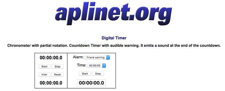 Cuenta atrás - cronómetro online http://www.aplinet.org/aplinet/index.php?apli=cronometro/chronometer&lan=en
