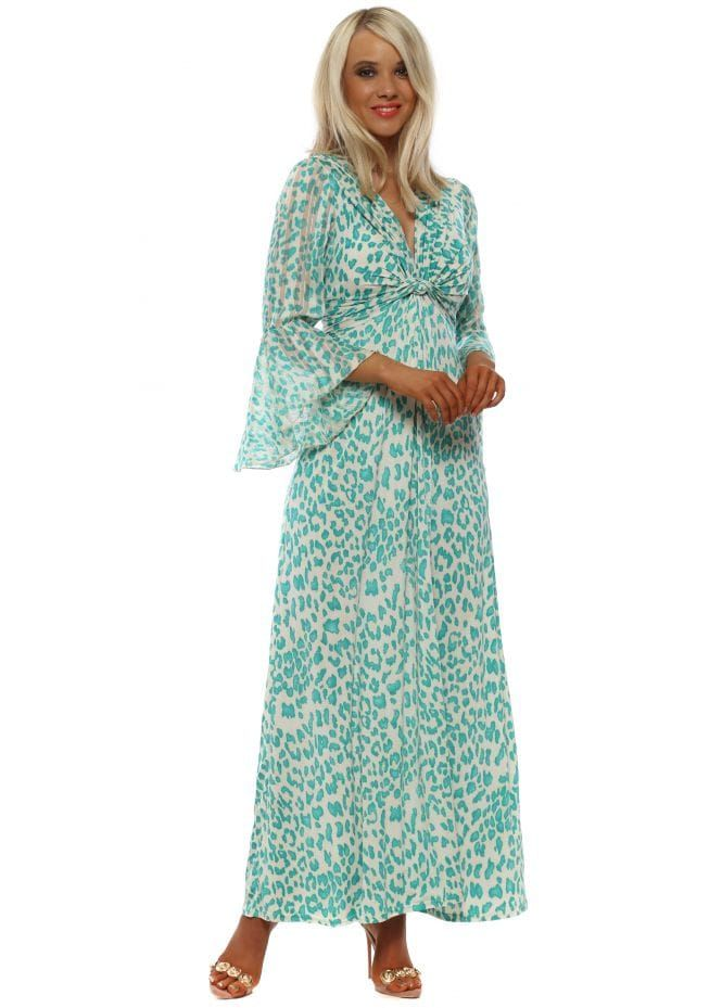 5dc796dd0e7 PORT BOUTIQUE Green Leopard Print Slinky Long Sleeve Maxi Dress ...