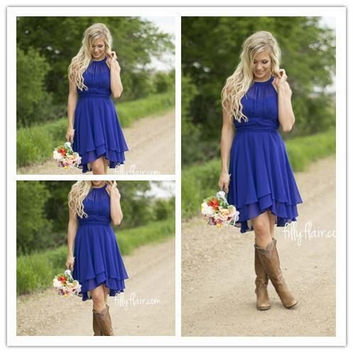 2016 Royal Blue Cheap Short Bridesmaid Dresses Halter Neck Flow Chiffon Country Style Ruched High Low Cocktail Dresses Homecoming Dresses Cheap Bridesmaid Dresses Australia Chiffon Bridesmaid Dress From Allanhu, $86.92  Dhgate.Com