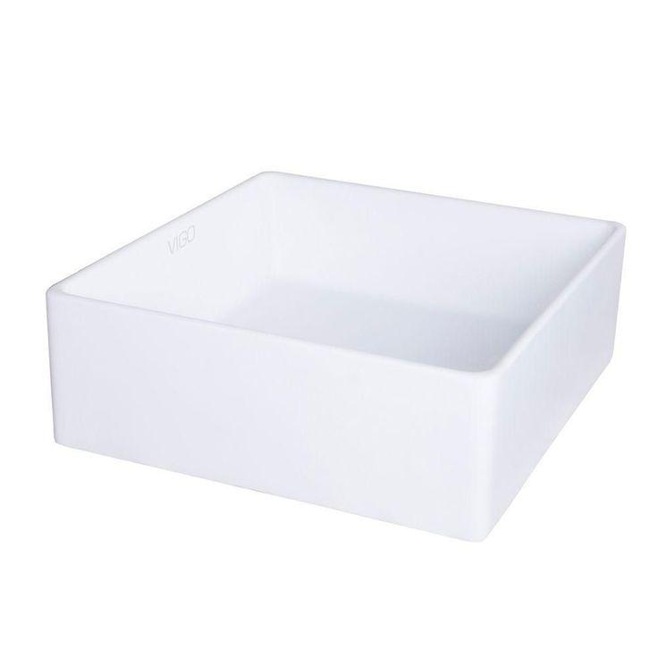 Vigo Dianthus Matte Stone Vessel Bathroom Sink Square