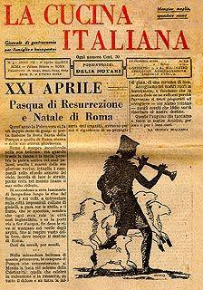 """La Cucina Italiana - Anno VII, n. 4, 1° Aprile 1935 - Nelll'introduzione al menu, la rivista si rivolgeva alle sole, """"gentili lettrici"""", con tono quasi di rimprovero e senza trascurare  l'esaltazione delle patrie virtù. per visualizzare il menu ..Una Pasqua """"reale"""" di 70 anni fa  http://archivio.mensamagazine.it/menu_1.asp?id=30"""
