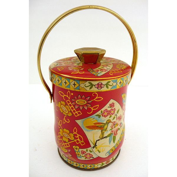Pretty Asian Inspired Murray Allen English Cookie Sweets Tin w/ Handle... (€14) ❤ liked on Polyvore featuring home, kitchen & dining, food storage containers and tin food storage containers