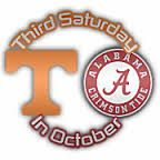 The 3rd Sat in Oct, AKA the Bama - TN football rivalry, played annually by the Alabama Crimson Tide football team of the University of Alabama & TN Volunteers football team of the University of Tennessee (315 miles apart) It is known as the 3rd Saturday in October because the game was traditionally played on it prior to the 1992 football season, when the Southeastern Conference split into its Eastern and Western divisions. From 1995 to 2012, it has only been scheduled for that date six…