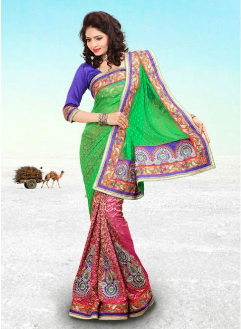 Splendorous Green & Pink Embroidered #Saree