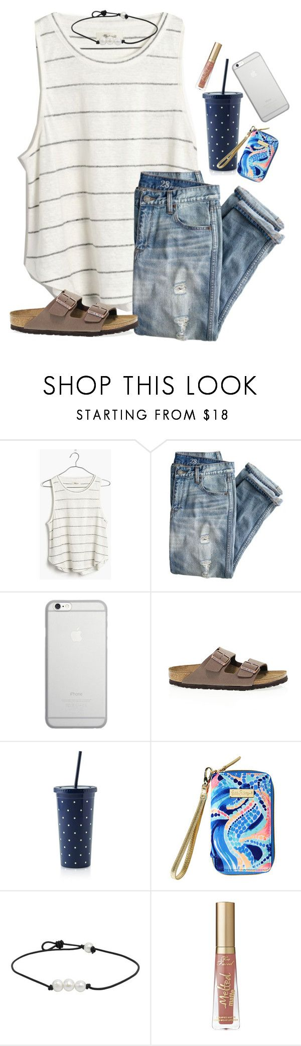 """Still don't know what team I'm on"" by ab1525 ❤ liked on Polyvore featuring Madewell, J.Crew, Native Union, Birkenstock, Kate Spade, Lilly Pulitzer and Too Faced Cosmetics"
