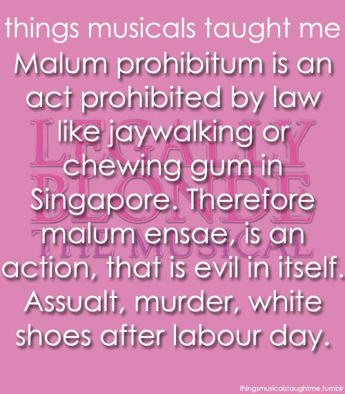 "Things Musicals Taught Me:  LEGALLY BLONDE - THE MUSICAL    ""Malum Prohibitum"" is an act prohibited by law, like jaywalking or chewing gum in Singapore. Therefore   ""Malum Ensae"", is an action, that is evil in itself: assault, murder, and white shoes after Labor Day."