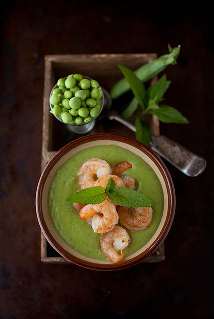 Minty Sweet Pea and Zucchini Soup with Garlic Shrimp by Yelena Strokin, via Flickr