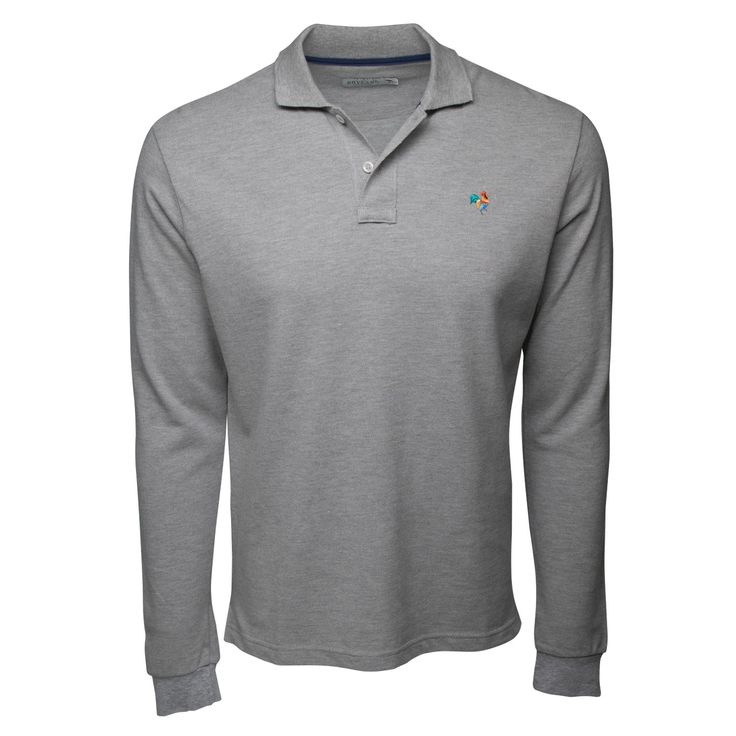 Heather Grey Long Sleeve Polo Shirt with Multi-Color Rooster