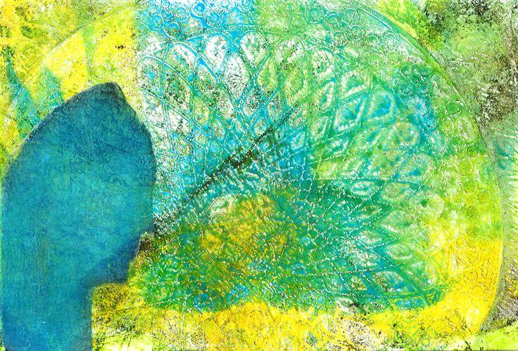 mixed media 114  verjaarskaart - gelli plate, sjabloon, collage (print op deli paper)