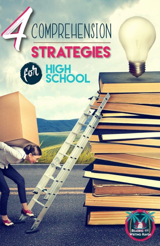Read about the four most important basic reading comprehension strategies to scaffold middle and high school students' understanding of complex texts. #readingstrategies #comprehension #highschoolenglish