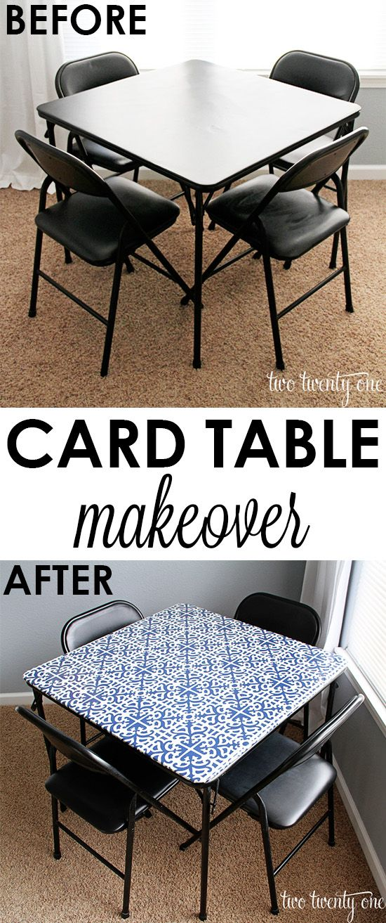 Easy and inexpensive card table makeover! - remove black fabric, hot glue fabric, staple on vinyl