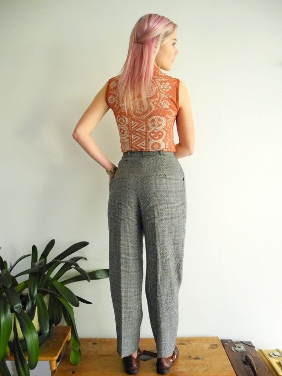 Vintage 1980s grey wool houndstooth cropped trousers by OurKin