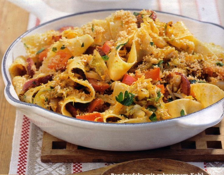 Ribbon pasta with fried cabbage cabbage