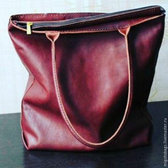 Купить кожаная женская сумка шоппер на молнии коричневая - коричневый, сумка, сумка женская, Сумки