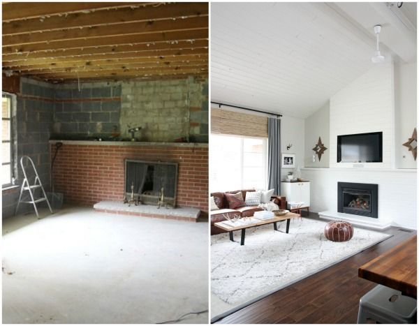 White Brick Fireplace Mid Century