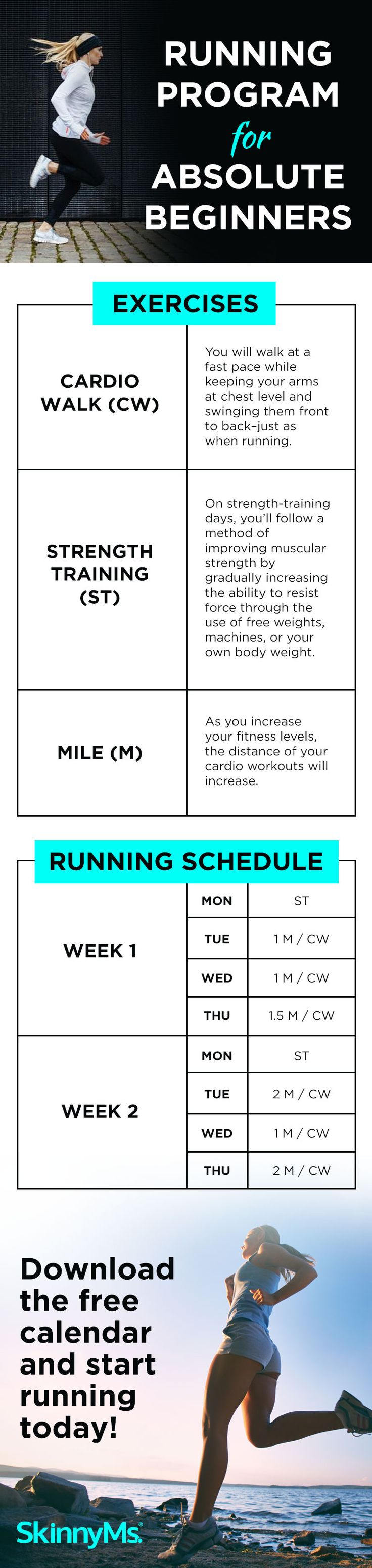 2018 is the finally the year you become a better runner! Start training today with our FREE downloadable running program! | Running Program for Absolute Beginners