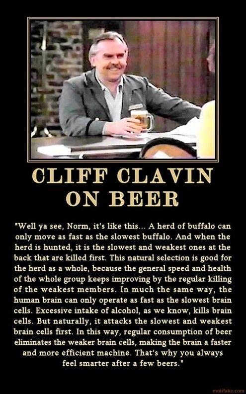 Irrefutable Logic: Cliff Clavin on Why Beer Makes You Smarter » Man Made DIY | Crafts for Men « Keywords: beer, culture, humor, tv