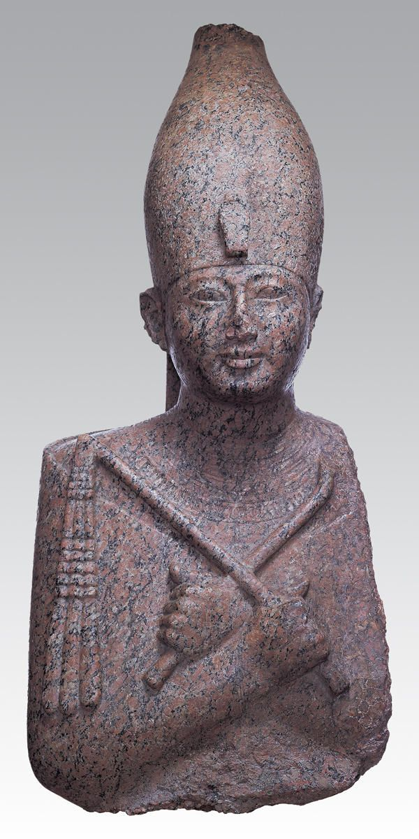 Portrait Statue of Pharaoh Amenhotep II (Dynasty 18, c. 1427–1400 B.C.), recarved for Ramesses II, c. 1250 B.C. South Karnak. Red granite | Kimbell Art Museum